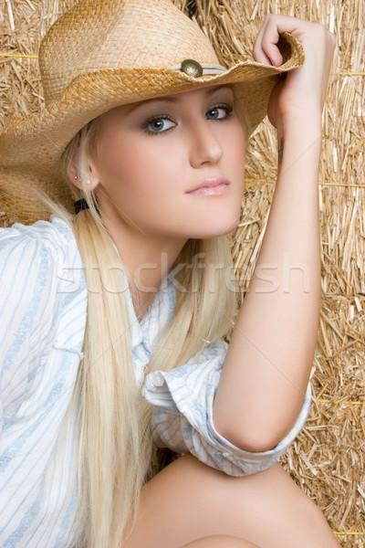 Güzel şapka yüz seksi mutlu Stok fotoğraf © keeweeboy