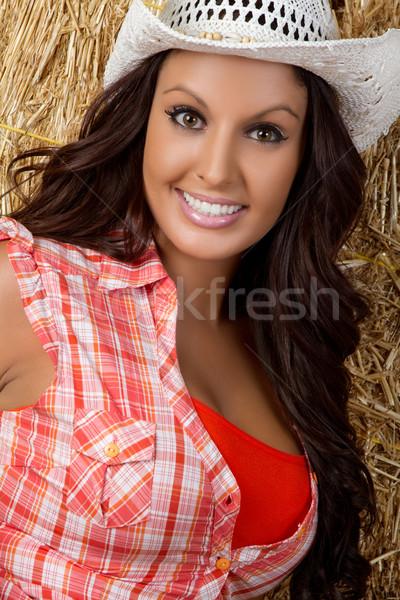 Chica de campo hermosa sombrero nina feliz Foto stock © keeweeboy
