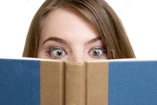 Kız okuma kitap genç kız yüz gözler Stok fotoğraf © keeweeboy