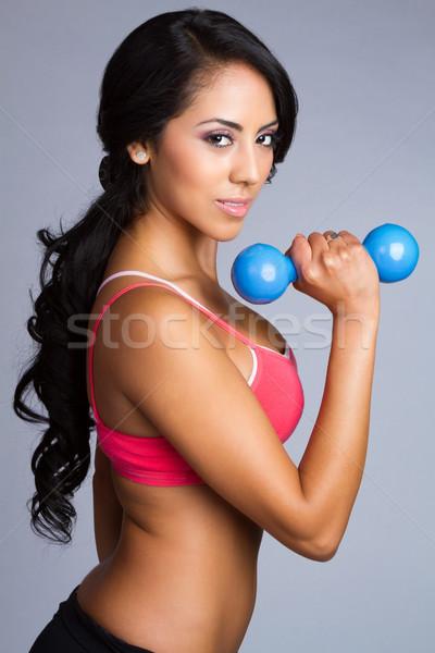Latin Woman Lifting Weights Stock photo © keeweeboy