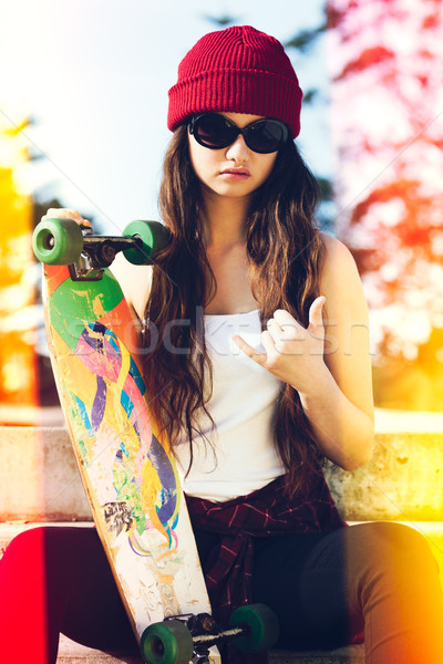 Girl with Skateboard Stock photo © keeweeboy