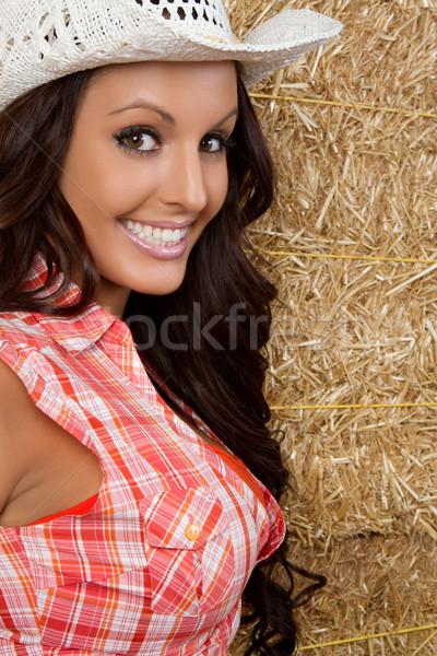 ülke kadın güzel gülen genç kız Stok fotoğraf © keeweeboy