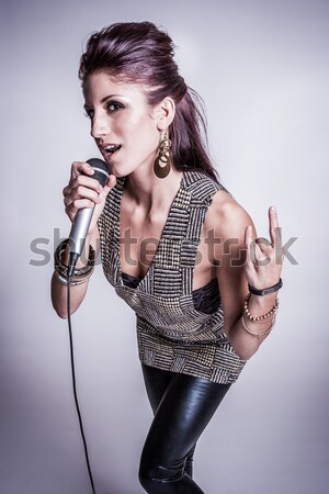 Singer with Microphone Stock photo © keeweeboy