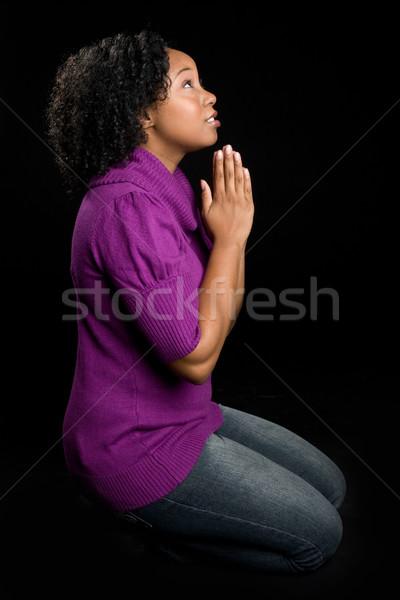 женщину молиться черную женщину рук женщины религии Сток-фото © keeweeboy