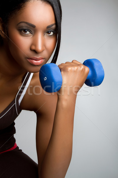 Fitness donna bella african american donna ragazza felice Foto d'archivio © keeweeboy