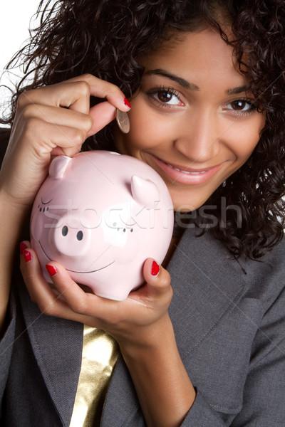Foto stock: Alcancía · mujer · hermosa · dinero · pelo · traje