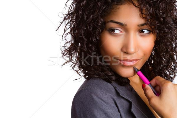 Pensare donna pen donna d'affari ragazza Foto d'archivio © keeweeboy