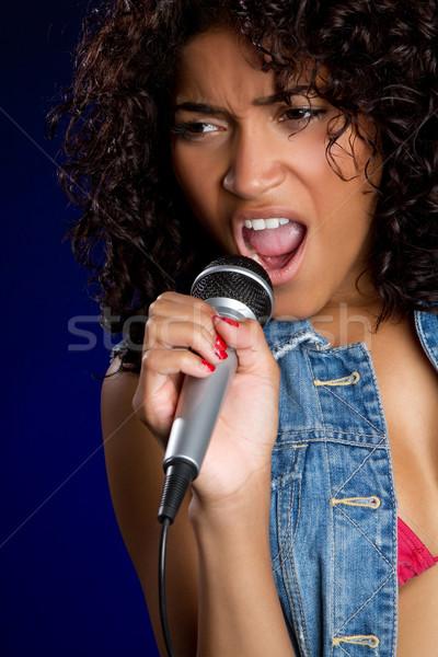 énekel nő gyönyörű afroamerikai nő lány száj Stock fotó © keeweeboy