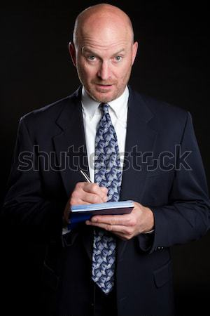 Adam yazı kontrol iş adamı iş Stok fotoğraf © keeweeboy