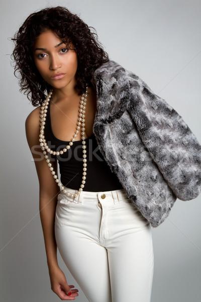 Fekete divat nő gyönyörű modell lány Stock fotó © keeweeboy
