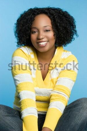 śmiechem czarnej kobiety piękna szczęśliwy kobieta uśmiech Zdjęcia stock © keeweeboy
