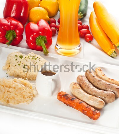 Stock photo: selection of all main type of german wurstel saussages