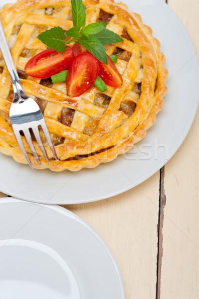 Házi marhahús pite friss sült makró Stock fotó © keko64