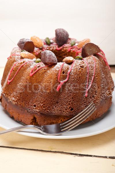 Gesztenye torta kenyér desszert friss mandulák Stock fotó © keko64