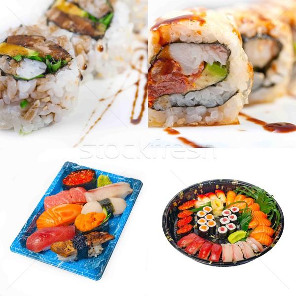 Japonês sushi colagem muitos prato branco Foto stock © keko64