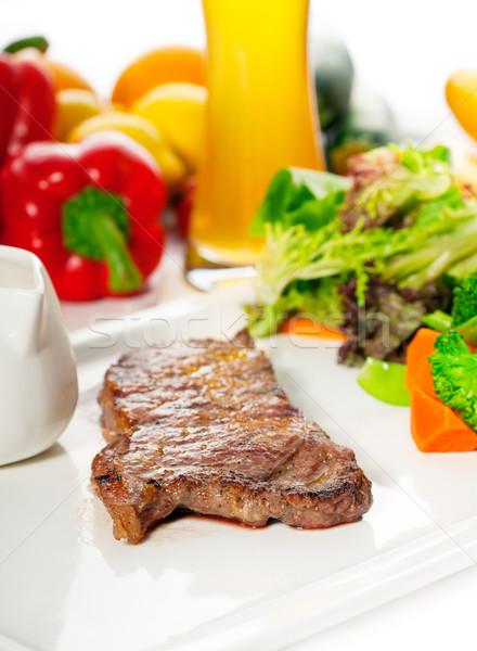 juicy BBQ grilled rib eye ,ribeye steak and vegetables Stock photo © keko64