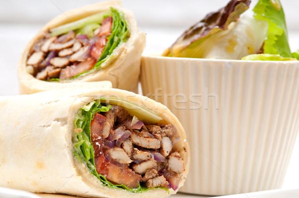 kafta shawarma chicken pita wrap roll sandwich Stock photo © keko64