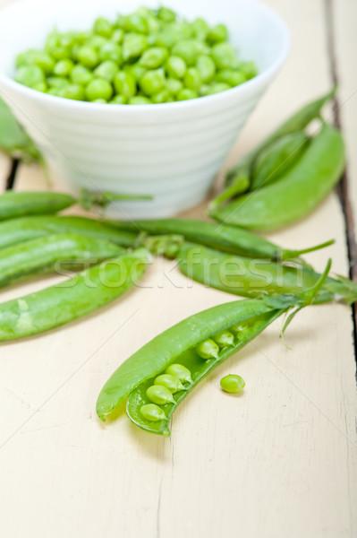 Stock fotó: Friss · zöld · zöldborsó · rusztikus · fa · asztal · textúra