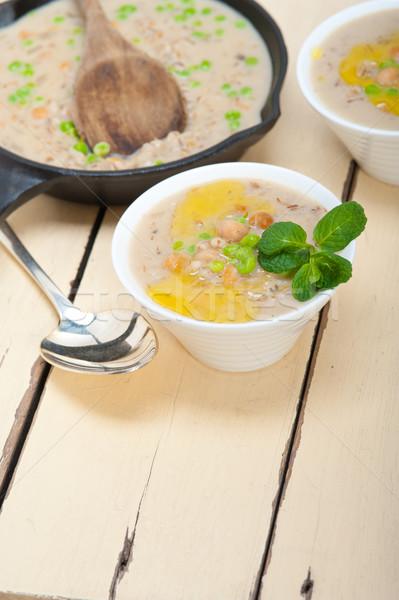 Orzo zuppa menta foglie top Foto d'archivio © keko64