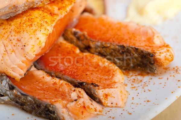 Grillowany filet warzyw Sałatka świeże pomidorów Zdjęcia stock © keko64