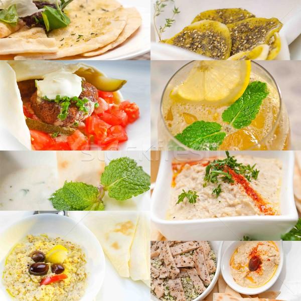 Közel-Kelet étel kollázs arab közel-keleti gyűjtemény Stock fotó © keko64