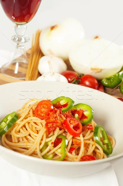 spicy italian pasta tomato and chili peppers sauce Stock photo © keko64