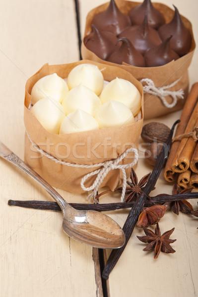 chocolate vanilla and spices cream cake dessert  Stock photo © keko64