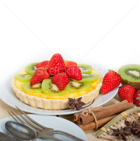 киви клубника пирог лимона заварной крем Сток-фото © keko64