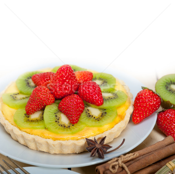 Kiwi fresa pie tarta limón natillas Foto stock © keko64