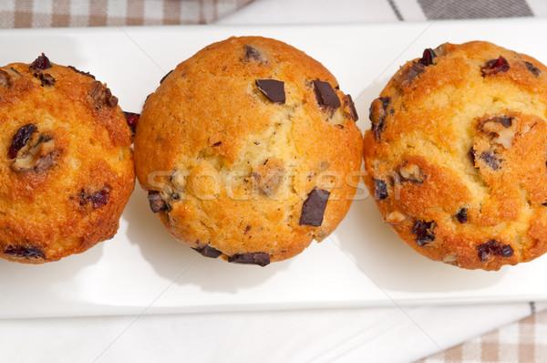 Stockfoto: Vers · chocolade · rozijnen · muffins · papier