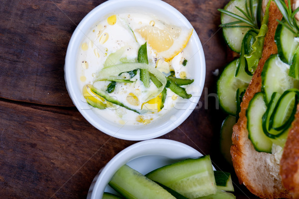 fresh vegetarian sandwich with garlic cheese dip salad Stock photo © keko64
