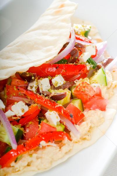 Friss saláta csomagolás házi készítésű pita egészséges étel Stock fotó © keko64