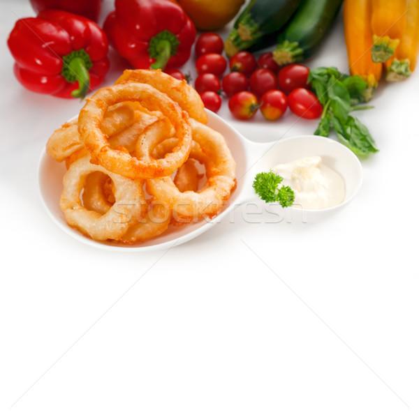 golden deep fried onion rings  Stock photo © keko64