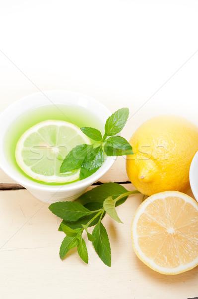 mint infusion tea tisane with lemon Stock photo © keko64