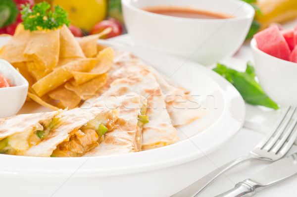 original Mexican quesadilla de pollo Stock photo © keko64