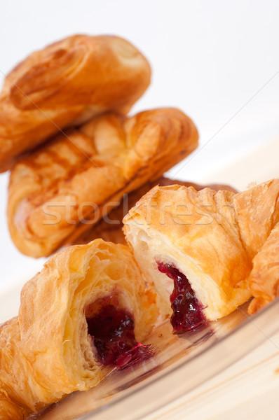 круассан французский Ягоды Jam свежие Сток-фото © keko64