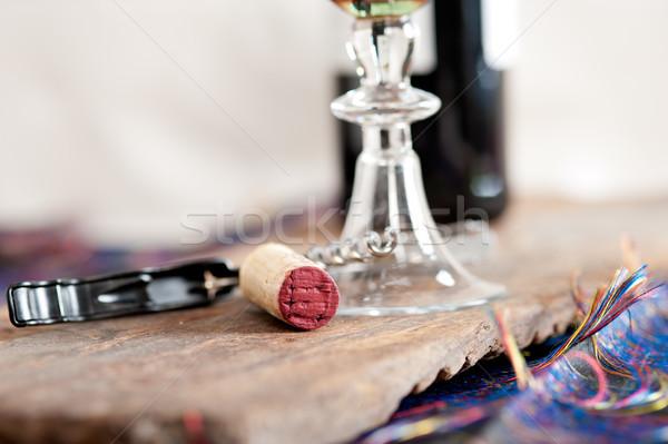 Vörösbor kóstolás közelkép makró fa étterem Stock fotó © keko64