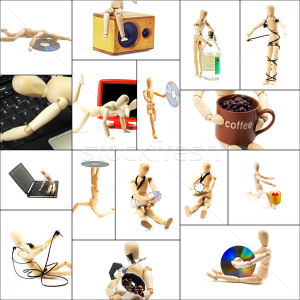 wood mannequin collage Stock photo © keko64