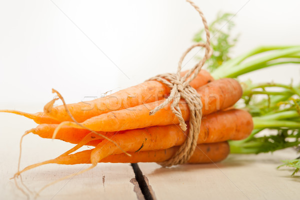 Bebé zanahorias cuerda frescos rústico Foto stock © keko64