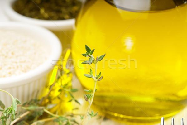 Extra maagd olijfolie kruiden vers sesam Stockfoto © keko64