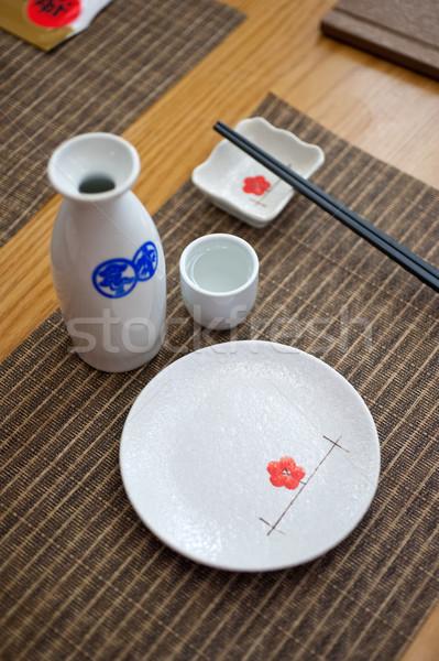 Japanese style table set and sake Stock photo © keko64