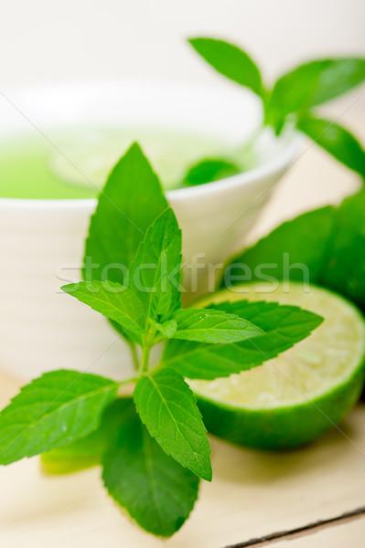 Menta infúzió tea citrus friss egészséges Stock fotó © keko64
