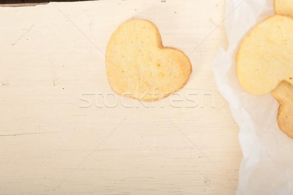 heart shaped shortbread valentine cookies Stock photo © keko64