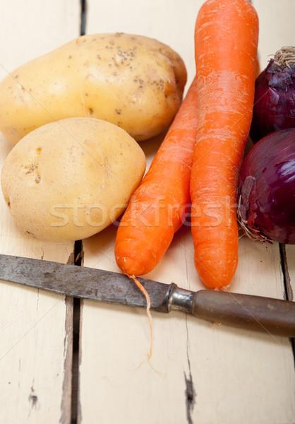 Básico vegetal ingredientes cenoura batata cebola Foto stock © keko64
