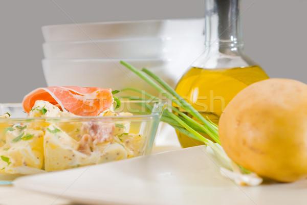 Stok fotoğraf: Jambon · patates · salatası · taze · patates