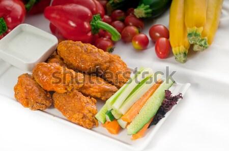 buffalo chicken wings served with pinzimonio Stock photo © keko64