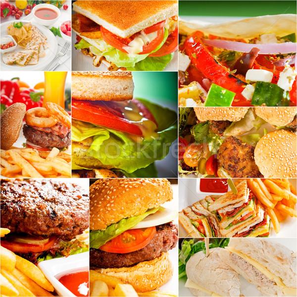 Sandwiches collectie collage vierkante doek achtergrond Stockfoto © keko64