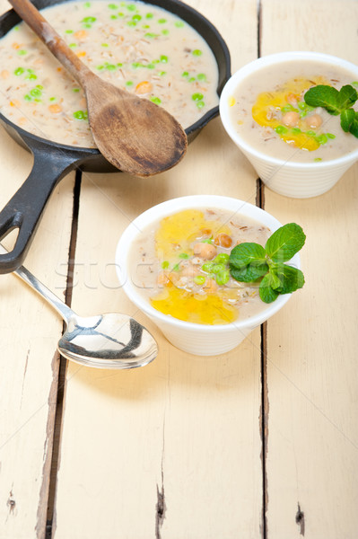 Stock photo: Hearty Middle Eastern Chickpea and Barley Soup