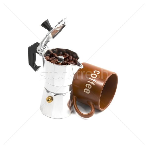ágata copo isolado branco café Foto stock © keko64