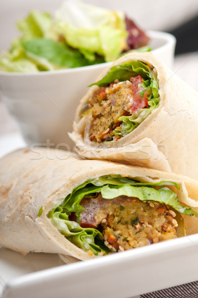 Stock photo: falafel pita bread roll wrap sandwich
